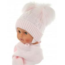 Czapeczka zimowa niemowlęca 38-40 różowa